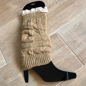 🆕 Leg Warmers Tan Sweater Cozy Socks eyelet warm